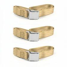 Ford Van 1975 - 1991 Airplane 2pt Tan Lap Bench Seat Belt Kit - 3 Belts SafTboy(Fits: Whippet Model 96)