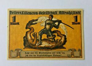 ALTRAHLSTEDT NOTGELD 1 MARK 1922 NOTGELDSCHEIN (12063)