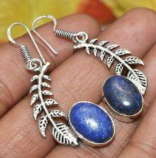 Lapis Lazuli Gemstone Dangle Earring 925 Sterling Silver Plated U313-D160
