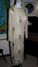 "Hollywood ""Red Carpet"" Beaded Crystals on Silk Full Length GOWN Dress, Sz 10-12"