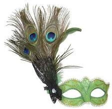 Ladies Green Peacock Eyemask Eye Mask With Feathers Masquerade Fancy Dress