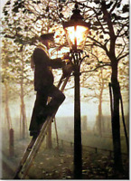 Fridge Magnet Lamplighter 1800's We Colorized old pic! Custom Magnets 2.5x3.5""