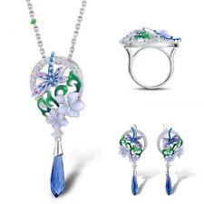 Earrings Sets Pendant Necklace Silver Dragonfly Flowers Enamel 925 Jewelry Ring