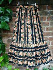 Vintage 1970s Folk Prairie Ruffled Hem Cotton Maxi Skirt