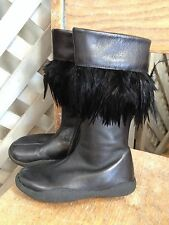 MOD8 Stunning JET BLACK Tall LEATHER Boots RAVEN FEATHERS TRIM Euro 26 US 9.5