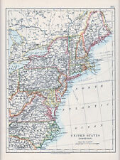 1912 MAP ~ UNITED STATES ~ NORTH EAST PENNSYLVANIA VIRGINIA TELEGRAPH CABLES