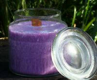 100hr COCONUT VANILLA Scented Crackling Wood Wick GLASS JAR CANDLE with SNUFFER