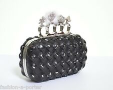 ALEXANDER McQUEEN LEATHER WOVEN CHARM KNUCKLE SKULL CLUTCH BAG BNWT VERY RARE
