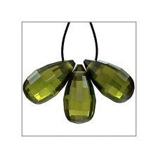 4 Cubic Zirconia Teardrop Briolette Beads 6.5x12mm Olive Green #64838