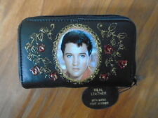 "NEW"" ELVIS PRESLEY ""  PICTURE  BLACK LEATHER  PURSE/WALLET"