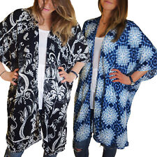 Ladies Long Pattern Asymmetric Kimono Cover-Up Top in One Size, Fits Size 10 -24