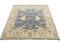 8X8 Square Oushak Area Rug Blue-Gray Hand-Knotted Wool Oriental Carpet