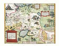 Map Antique 1584 Ortelius Moscow Tartary Old Large Replica Canvas Art Print