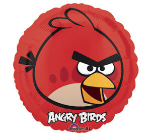 5 Angry Birds Red Mylar Balloons  Birthday Party Decorations