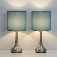Set of 2 Bedside Table Lamps Modern Design Line Fabric Lampshade Metal Lamp Base