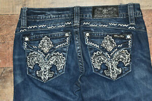 Miss Me Jeans Size 27 Signature Rise Boot Distressed Mid Rise Rhinestones Studs