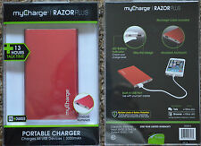 New ~ myCharge RAZOR PLUS 3000mAh {RED} PORTABLE CHARGER  Slim +13 hrs talk time