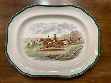 """Spode England Herring Hunt Green Rim 14 1/4"""" Platter Serving Dish The Find"""