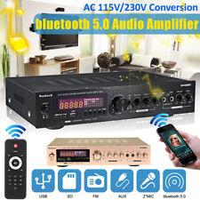 1200w EQ 110v Bluetooth Power Amplifier Home Stereo 2ch Amp FM Radio SD US