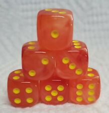 Dice - Chessex 16mm Ghostly Glow Orange w/Yellow Pips - Set of Six