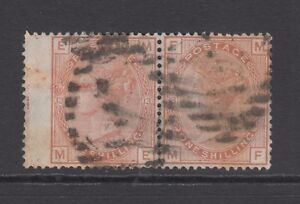 Pair of GB QV 1s. Orange-Brown SG151 Plate 13 ME/MF Used Stamps, Spray of Rose