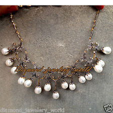 Estate Vintage 10.70cts Rose Cut Diamond Pearl Studded Silver Jewelry Necklace