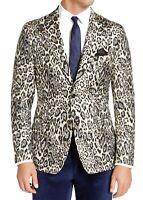 Tallia Mens Blazer Black Size Medium M Slim-Fit Cream Leopard Metallic $350 165