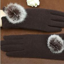 秋冬季保暖加絨女士手套毛球時尚手套