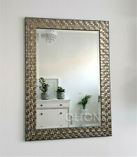 John Lewis Wall Mirror Wood Mosaic Champagne Antique Silver 106x76cm