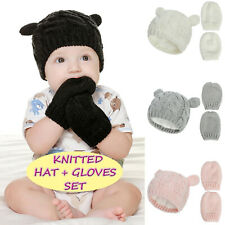 Newborn Baby Beanie For Boy Girl Cap Cotton Knitted Winter Warm Hats+Gloves Set