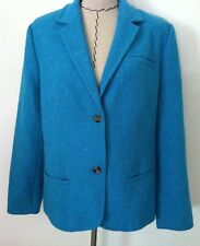 Liz Claiborne XL women blazer turquoise button lined wool size 14 16 18