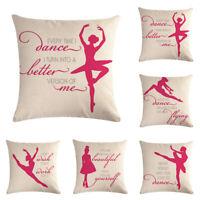 """Art Ballet Girl 18"""" Cotton Linen Throw Pillow Case Cushion Cover Home Decor"""