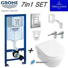 GROHE WC FRAME + VILLEROY BOCH OMNIA WALL HUNG TOILET PAN WITH SOFT CLOSE SEAT