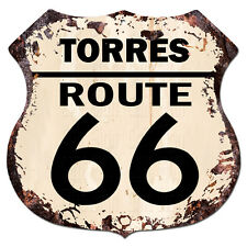 BPHR0050 TORRES ROUTE 66 Shield Rustic Chic Sign  MAN CAVE Funny Decor Gift