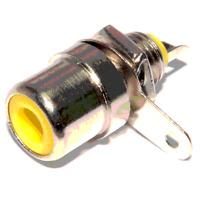Fiche RCA Femelle Chassis  Répérage  JAUNE Métal Nikelé Connections à souder