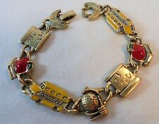 Vintage Enamel Bracelet Teacher's Gift School Bus Apple Globe Gold Tone Retro!!!