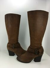 Women BOC by BORN Brown Leather Distressed Fashion Knee High Straps Boots 9 40.5
