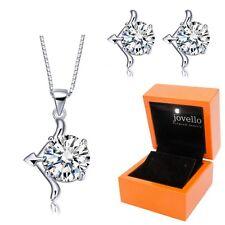 Schmuckset aus 925 Silber Sternzeichen Schütze Halskette Ohrstecker + LED Box