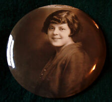 Large 1900-1920s Tin Button Photo of Woman by Columbia Portrait Co.
