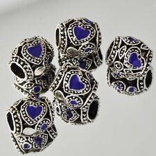 Charm 5* Tibetan Silver Heart Purple Enamel Clear CZ Beads Fit European Bracelet