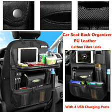 PU Ven Car Seat Back Hanging Organizer Bag w/4 USB Chaeger Ports Multi-Pocket