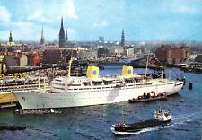 """AK, Hamburg, Hafen mit Stadtpanorama, Dampfer """"Gripsholm"""", um 1985"""
