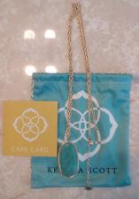 Kendra Scott Turquoise Blue Rae Pendant Gold Necklace Rare HTF