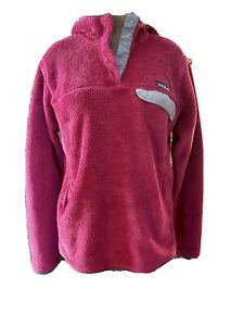 Patagonia Women's Hooded ReTool Snap-T Fleece Pullover Sweater Pink Large