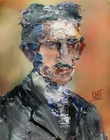 Abstract Portrait Inventor Nikola Tesla Painting Knife Fine Wall Art Print 11x14