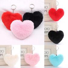 Heart Shape Key Ring Pendant Faux Fur Fluffy Pompom Ball Keychain Decor Gift AUS