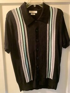 Urban Outfitters Collared Short Sleeve Striped Cardigan Sweater - 50s Style, S