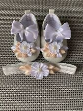 Baby Girl Party/Christening Wedding pram shoes, Headband. Baptisms 6-9 Months