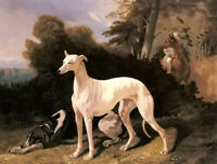 Oil painting Alfred Dedreux - a greyhound in an extensive landscape dog animals