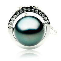 Pacific Pearls® Genuine 13mm Tahitian Black Pearl Diamond Pendant Gifts For Wife